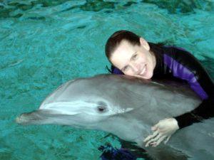 kim with dalphins